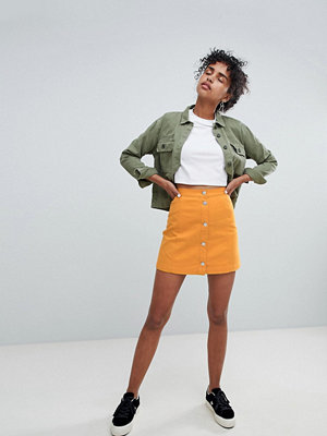 Monki button up denim skirt in mustard - Mustard