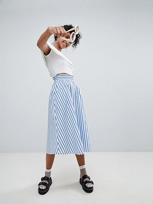 Monki blue and white stripe midi skirt - Blue and white