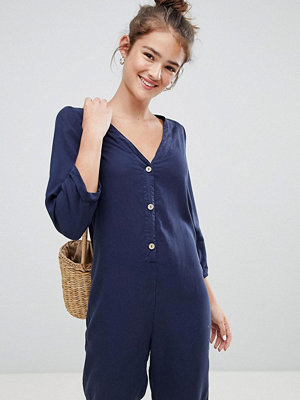 Pull&Bear wood effect button jumpsuit