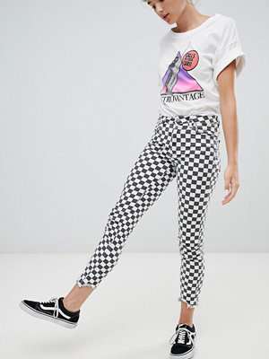 Pull&Bear checkerboard print skinny jean - Mono