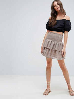 Y.a.s Poppy Ruffle Layered Skirt - Toasted coconut aop