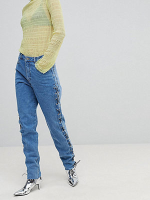 Chorus Tall Lace Up Side Mom Jeans - Worn indigo