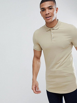 ASOS DESIGN longline muscle fit polo with curved hem in beige - Chips