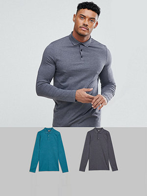 ASOS DESIGN long sleeve polo in jersey 2 pack SAVE - Char marl/ urch marl
