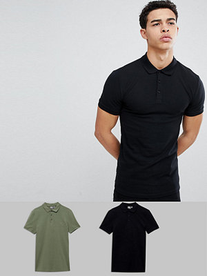 ASOS DESIGN muscle fit pique polo 2 pack SAVE - Black/geata green