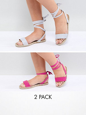 ASOS DESIGN Jenica Two Pack Wide Fit Espadrille Sandals - Silver/magenta