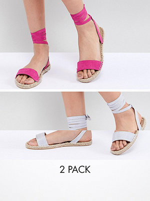 ASOS DESIGN Jenica Two Pack Espadrille Sandals - Silver/magenta
