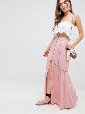 ASOS DESIGN crinkle maxi skirt with lace trim detail