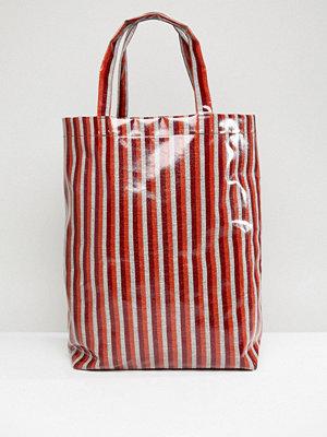 Weekday Limited Edition Vinyl Stripe Shopper - Red/orange