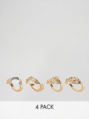 ASOS DESIGN Pack Of 4 Engraved Pretty Stone Rings