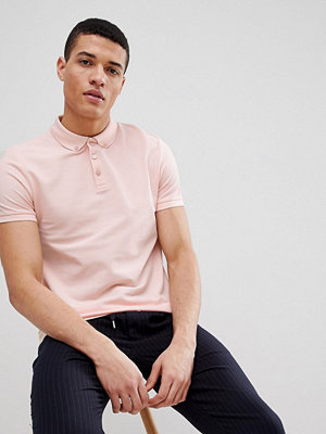 ASOS DESIGN polo with button down collar in pique in pink - Floss