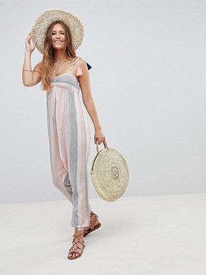 ASOS DESIGN Beach Hareem Jumpsuit In Pastel Stripe With Tassel Ties - Pastel stripe