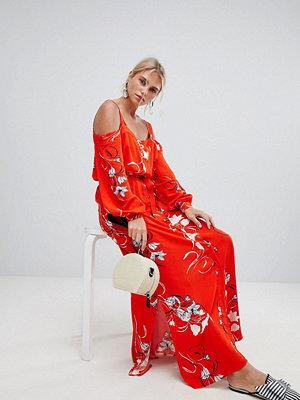 Y.a.s Floral Printed Cold Shoulder Midaxi Dress