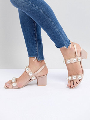 Monki Pearl Detail Block Heeled Sandal - Nude
