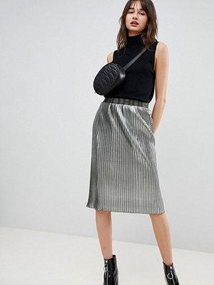 Hugo Metallglänsande kjol med logga på midjeresåren Silver