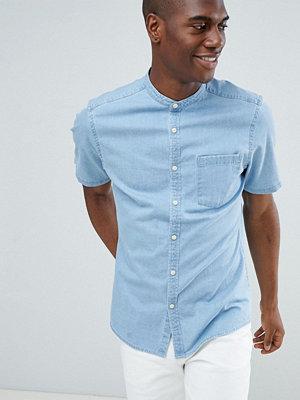 ASOS DESIGN stretch slim denim shirt in light wash with grandad collae - Bleach wash