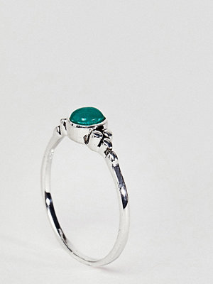 ASOS DESIGN Sterling Silver Small Engraved Stone Ring - Gold