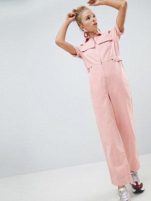 ASOS DESIGN denim boilersuit in pale pink