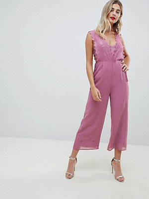 ASOS DESIGN Jumpsuit With Embroidery And Lace Up Detail - Purple