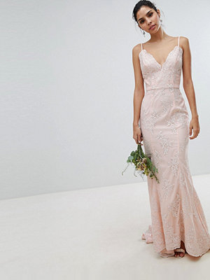 Chi Chi London bridal premium lace maxi dress with fishtail in nude - Nude
