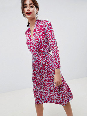 French Connection Animal Print Tie Waist Dress - Red print