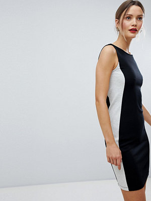 French Connection Lula Ponte Pencil Dress - Blk/ dove gry mel