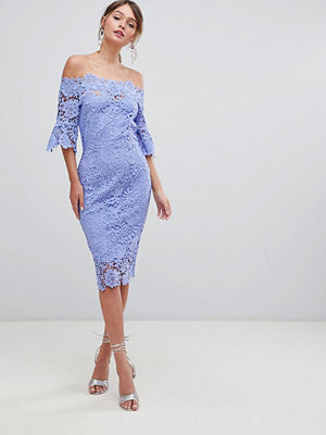 Paper Dolls Off Shoulder Crochet Dress With Frill Sleeves - Bluebell