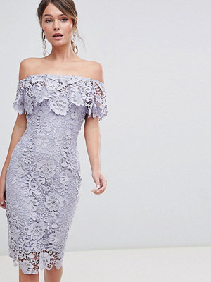 Paper Dolls Ruffle Bardot Lace Midi Dress - Oyster grey