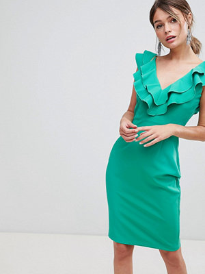 Paper Dolls Ruffle Neck Detail Pencil Dress