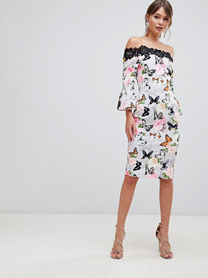 Paper Dolls Printed Off Shoulder Pencil Dress With Crochet Trim - Multi butterfly