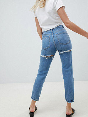 ASOS DESIGN Farleigh high waist slim mom jeans in light stone wash with bum rips - Prince