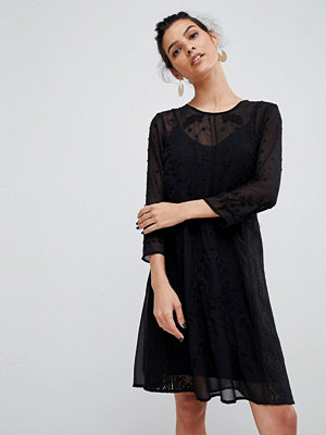 Y.a.s Embroidered Dress With Button Detail - Black