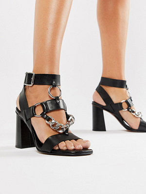 ASOS DESIGN Premium Torch leather heeled sandals - Black leather