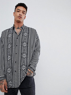 ASOS DESIGN oversized drop shoulder paisley print shirt in viscose