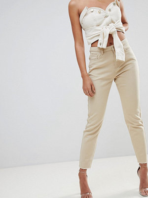 Missguided Riot High Waisted Mom Jeans - Sand