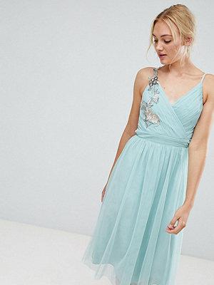 Little Mistress Tall Floral Applique Midi Dress - Sage green