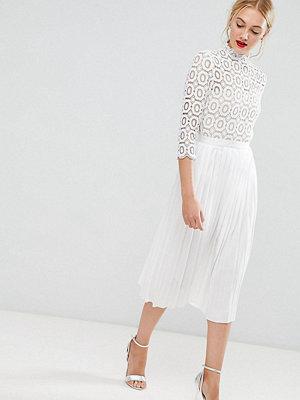 Little Mistress Tall 3/4 Sleeve Lace Top Pleated Midi Dress