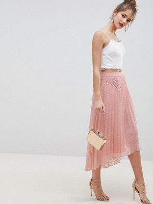 ASOS DESIGN dobby pleated high low midi skirt with pintuck detail - Nude