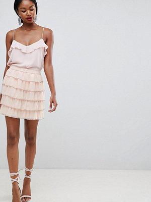 ASOS DESIGN mini skirt with beaded tiers - Nude