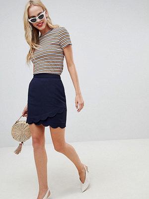 Oasis Marinblå A-linjeformad minikjol med uddkant Marinblå