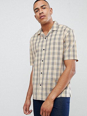 ASOS DESIGN Tall oversized boxy check in brown with revere collar