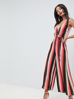 Asos Tall ASOS DESIGN Tall jumpsuit with wrap front in multi stripe - Stripe