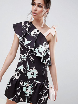 ASOS DESIGN floral one shoulder ruffle mini dress with bow detail - Print