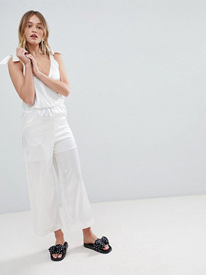 Monki Satin Tie Strap Jumpsuit