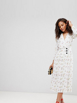 Asos Tall ASOS DESIGN Tall pleated midi dress with side buttons in ditsy floral