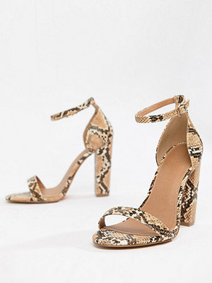 ASOS DESIGN Wide Fit Highball barely there heeled sandals - Snake