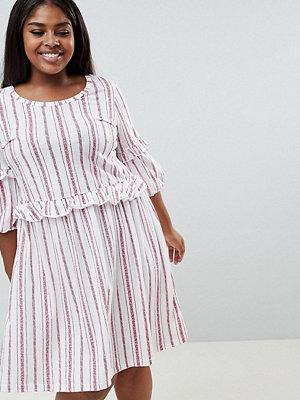 Junarose organic striped frilled smock dress - Snow white
