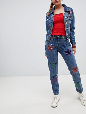 Glamorous star embroidered mom jeans - Blue acid wash