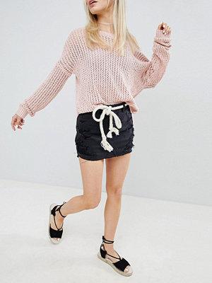 Hollister Destroyed Denim Skirt