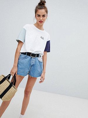 Pull&Bear Blå randiga jeansshorts med ficka